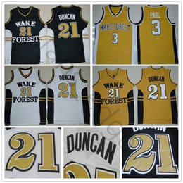 a2f0407e3b9 NCAA Wake Forest Demon Deacons Tim College #21 Duncan Jersey Black White  Gold Stitched #3 Chris University Paul Basketball Jerseys Shirts