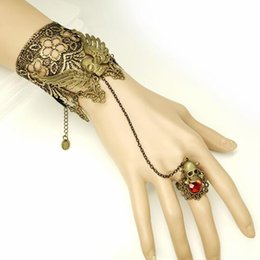 golden skull ring 2019 - hot new Vintage hand decorated skull wing golden lace lady's bracelet with personality band ring Halloween fashion