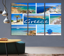 mediterranean canvas art NZ - 3 Pcs Greece Mediterranean Sea Modern Style Abstract Canvas Oil Painting Landscape Poster Pictures Decorative Painting Wall Art No Frame