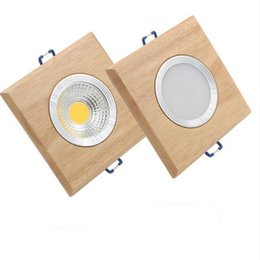 wood ceiling lights UK - square solid wood led downlight, modern 3W 5W led recessed ceiling spotlights industrial office ceilling lamp home cabinet light