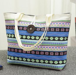 Discount tote bags stripped - Strip Printed Casual Tote bag Women Canvas Handbag Shoulder Shopping Bags Fashion Boho Canvas Beach Bag