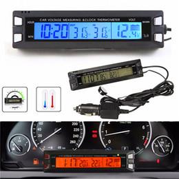 digital car clocks backlight 2019 - Universal 12V 24V Red Orange Backlight Car Digital LCD Display Clock,indoor outdoor Thermometer,Voltage Meter Battery Mo