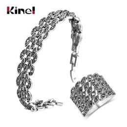 Discount bright eyes - Kinel Hot Bright Black Crystal Bracelet Ring For Women Antique Silver Color Little Eye Bracelets Charm Vintage Jewelry S