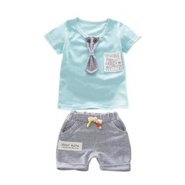 T Shirt Suit For Baby Girl UK - OUTAD 2PCS SET Baby Suit Set Clothes Cotton Summer Short Sleeve T-Shirts + Stripe Pattern Shorts Outfit for Boys Girls 1-3 Y
