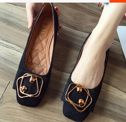 Discount flat shoes korean styles - Free send Hot 2018 new style spring Square head Single shoes women's Shallow mouth Korean flat bottom shoes