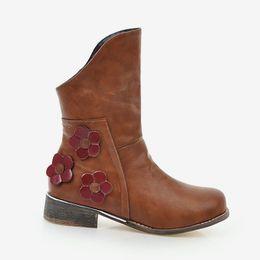a15aa8da3 Mulheres Étnica Flor Do Vintage Ankle Boots Outono 2018 Plus Size Senhoras  Deslizamento Em Saltos Baixos Grossos Moda Feminina Martin sapatos