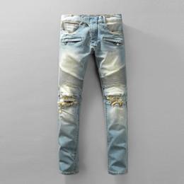 Slp biker denim online shopping - Balmain slp blue black destroyed mens slim denim straight biker skinny jeans Casual Long men ripped jeans Size