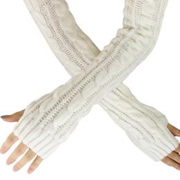 $enCountryForm.capitalKeyWord Australia - 2018 New Pure Color Flowers Long Mitten Gloves Women Knitted Wrist Fingerless Winter Gloves Ladies Soft Keep Warm