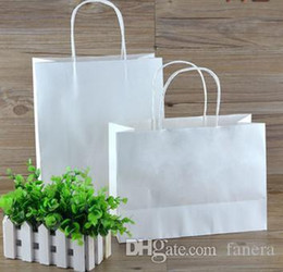 19b6d37789b Wholesale- ROCOHANTI 100PCS White Kraft Paper Bags Top Quality Paper  Shopping Bags Custom Printed Your LOGO