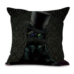 Plain Pink Black Bedding UK - 45x45cm Cute Cat Cotton Linen Pillowcase Waist Cushion Pillow Cover Case Bags Office Bedding Textiles