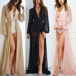 $enCountryForm.capitalKeyWord NZ - Women See Through Beach Long Maxi Dress Bathing Shirt Sexy Ladies Womens Mesh Dresses Beach Long Sleeve Clothing