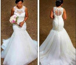 $enCountryForm.capitalKeyWord Australia - 100 Real Image Elegant Mermaid Wedding Dresses Sheer Neck Appliques Lace Tulle Plus Size Wedding Dresses Cheap Bridal Gowns Illusion Back