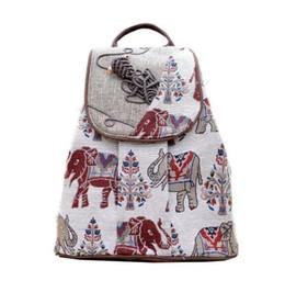 $enCountryForm.capitalKeyWord Canada - Ethnic style rucksack elephant print colorful canvas woman unique nice drawstring cotton backpack