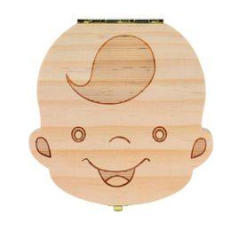 venda por atacado Caixa de dente para o Bebê Salvar Leite Dentes Meninos / Meninas Imagem Caixas De Armazenamento De Madeira Presente Criativo para Crianças