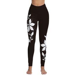 a5b3b38706c6c9 Womens White Floral bedruckte hohe Taille Workout Leggings dünne Tummy  Control Yoga Hosen