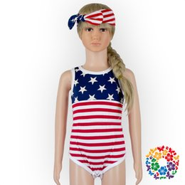 7524ce05b02e6 American Flag Girl Summer Canada - American Flag Baby Rompers Newborn Baby  Clothing Set Rompers +