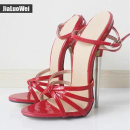 93d7a2e56d1e 18 cm Fetiche Vermelho GiaroSlick Moda Tira No Tornozelo Fivela Peep Toe  Mulheres sandálias de Salto Fino de Metal De Salto Alto Sapatos de Vestido  Homem ...