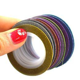 $enCountryForm.capitalKeyWord Canada - striping tape 1mm 12pcs Lot 3D Glitter Nail Art Line Sticker DIY Striping Tape Rolls Shinning Tips Manoicure Tools NC392