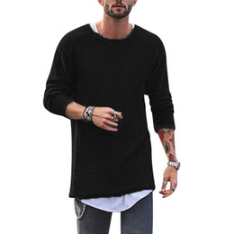 oversized long t shirts UK - Long Sleeve Mens T Shirt 2018 Summer Round Neck Male Oversized t-shirt Cotton Knitted tshirt Streetwear Hip Hop Tee Shirt Homme