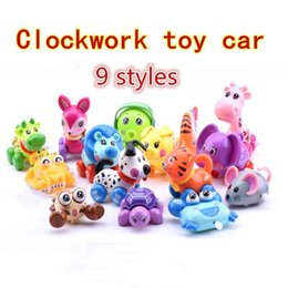 old silver chains NZ - Clockwork toy car Children's spring toy car cartoon animal chain twist car baby educational toy gift 9 kinds of style