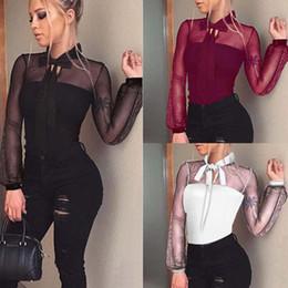 8908ea9c41 New 2018 Summer Bodysuit Women Sexy Bow Black Mock Neck Patchwork Long  Sleeve Back Ladies Lace Mesh Bodysuit Transparent Tops