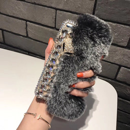 Red Roses foR haiR online shopping - Luxury Rabbit Hair Fur Case Furry Fox Head Phone Cover Bling Diamond Shinning Rhinestone Shell for iPhone X Plus