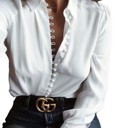 Mulheres Casuais Sólidos Blusa de Manga Longa Blusa de Algodão Camisa Blusa Camisa Mulheres Turn-down Collar Regular Blusas Plus Size Roupas Femininas S-3XL
