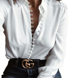 Wholesale Women Casual Solid Long Sleeve Blouse Lapel Cotton Shirt Blouse Shirt Women Turn down Collar Regular Blusas Plus Size Woman Clothing S XL