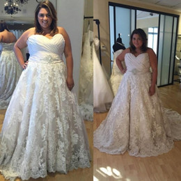 China Plus Size Wedding Dresses 2019 Sweetheart Vestido De Noiva A Line Lace Wedding Dress for Fat Women Custom Made Vintage Wedding Dresses cheap wedding dress lace for fat suppliers