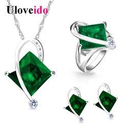 Set di gioielli da sposa di moda Uloveido con pietre blu verdi Set di gioielli Collana e orecchini con anello da donna T295