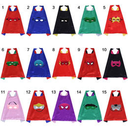Wholesale 70 cm Superhero Capes layers Satin Kids Clothes Superhero Cosplay Capes with Mask Halloween Child Favor Kids Capes Mask Set set