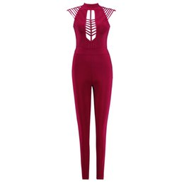 14b2f4ddbd8 Women Summer Jumpsuits Fashion Rayon rompers Red Hollow-Out Skinny Long  Pants Party Club Bar Bandage Sexy Jumpsuits for women