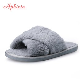 Wholesale Black Flip Flops Canada - Aphixta Faux Fur Women Shoes Soft Home Indoor Fur Slipper Flip Flops Charm Mules Winter Autumn Home Slipper Solid Plus Size35-41