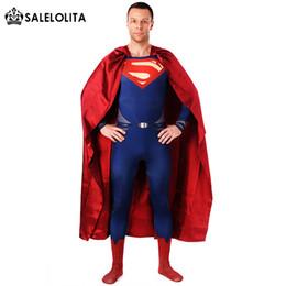 Superhero Full Body Suits Australia - (Include Cloak )Halloween Cosplay Superman Costumes Carnival Blue Red Lycra Spandex Full Body Superhero Zentai Suits