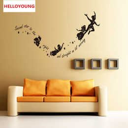 Classic Kids Cartoons NZ - DIY Home Decor Removable Cartoons Anime Second Star To Kids Wall Stickers Waterproof Wallpapers Mural All-match Style