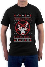 ugly christmas sweaters men Canada - Funny Ugly Christmas Sweater - Jingle Bell Go To Hell T-shirt Gift Idea Print T Shirts Man Short Sleeve Tshirt Punk Tops