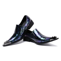 Shoes Metal Print Australia - New mens fashion printing pointed toe slip on patent leather casual shoes men loafers luxury metal design bars career wrok shoes