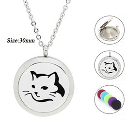magnetic pendant necklaces NZ - stainless steel diffuser Cat Shape Magnetic Aromatherapy Diffuser Jewelry Stainless Steel Essential Oil Scent Pendant Necklace for Women