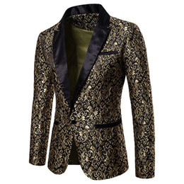 Venta al por mayor de Slim Fit Blazer Men 2018 Nueva llegada para hombre Floral Blazers Floral vestido de fiesta Blazers Blazer elegante de la boda y traje chaqueta hombres