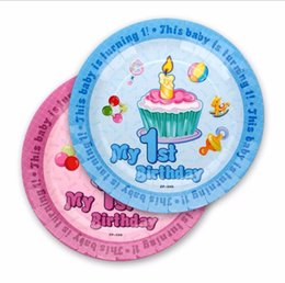 1st Birthday Party 7inch Paper Plate For Baby Girl Or Boy 1 Year Old Partys Best Disposable Decoration 12pcs Bag