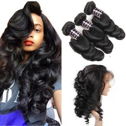 Discount loose wave virgin hair bundles - 8A Pre Plucked 360 Lace Frontal Closure With 3 Bundles Brazilian Loose Wave Virgin Unprocessed Human Hair Weave With Ful