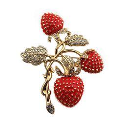 $enCountryForm.capitalKeyWord UK - 2017 free shipping fashion women New Jewelry wholesale strawberry Rhine stone drop glaze enamel delicate Brooch SET