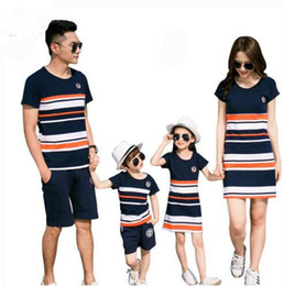 matching father daughter clothing 2019 - Family Matching Outfits 2018 summer Fashion Striped T-shirt Outfits Mother And Daughter Dresses And Father Son Baby Boy