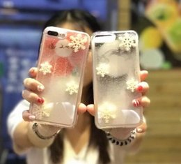 Chinese  2018 new three-dimensional snowflake Apple 8 liquid mobile phone shell 6s quicksand iPhone7plus soft edge anti-drop silicone sleeve manufacturers