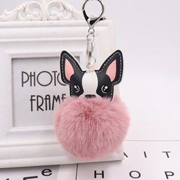 cute car keychains 2020 - 10PCS Wholesale Fashion Girls Cute Imitation Rabbit Hair Car Key Chain Ring Best Design Gift Dog Shaped Key Chain Key Ri