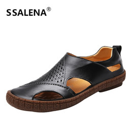 Discount leather low cut dress - 2018 Mens Soft Sole Flats Sandals High Quality Men Leather Cut Out Sandals Fashion Breathable Summer Slip On Shoes B2886
