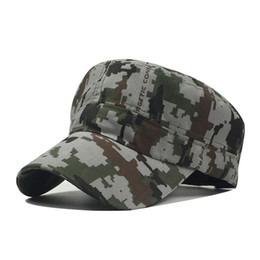 340cf33804d205 Adult Cotton Chapeau Adjustable Cadet Style Ultra Thin Breathe Flat Top Military  Cap Camouflage Hats Men Women Summer Military Hats