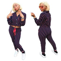 $enCountryForm.capitalKeyWord NZ - 2019 Fashion Trendy Striped Short Shirt and Pants Suits Two Pieces V Neck Long Sleeves Button Top and Skinny Long Pants Casual Tracksuits