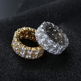 c57a6804d032 Nuevo diseño anillo plateado oro color Micro pavimentado cadena de 2 filas  Big Zircon anillos dedo pulido hip hop para hombres mujeres