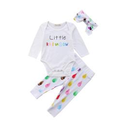 750d01296e4 Cute Newborn Toddler Kids Girl Boys Baby LITTLE RAINBOW Letter Romper Long  Pants Headband Outfits Set